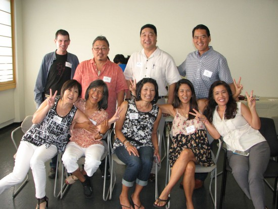 The 1982-83 contingent: (Back row, from left) Jim Gottlieb, Scott Konishi, Ken Nishida, John Iino. (Front row, from left) Judy Miyashita, Yuki Okada Woo, Jennie Shikashio, Marlene Yamane-Chan, Emile Yanagi.