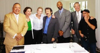 At the taping, left: Sonny Skyhawk, Amanda Susskind, Chelsea Handler, Guy Aoki, Dr. Darnell Hunt, Alex Nogales, and Samy Chouia.