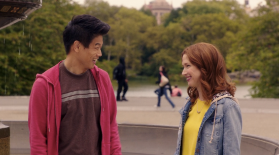 "Ellie Kemper and Ki Hong Lee in a scene from ""Unbreakable Kimmy Schmidt."""