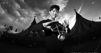 "World yo-yo champion Tomonari Ishiguro reaches for the stars with his physics-defying routines. He is a featured performer in Cirque du Soleil's ""Kurios: Cabinet of Curiosities,"" running through Feb. 7 at Dodger Stadium. (Photo by MIKEY HIRANO CULROSS)"