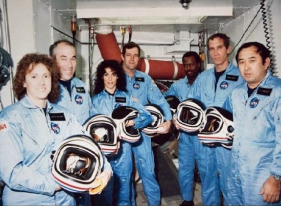 The crew of the Challenger (from left): Christa McAuliffe, Gregory Jarvis, Judy Resnik, Francis 'Dick' Scobee, Ron McNair, Mike Smith, Ellison Onizuka.