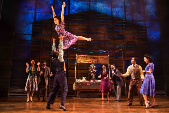 """The ensemble recreates a camp dance in a scene from """"Allegiance."""" (Photo by Matthew Murphy)"""