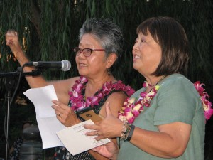 Evelyn Yoshimura and Carrie Morita gave a rhyming introduction of fellow honoree Lloyd Inui.