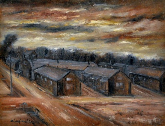 "Henry Sugimoto, ""Camp, Crisscrossed Roadways,"" oil on board, Japanese American National Museum, gift of Madeleine Sugimoto"