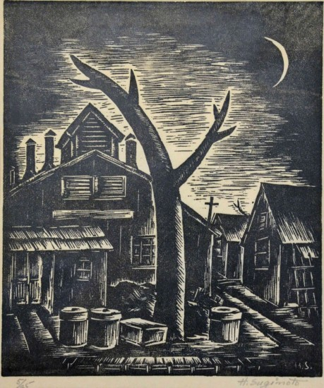 "Henry Sugimoto, ""Twilight (Jerome Camp),"" woodcut print on paper, Japanese American National Museum, gift of Madeleine Sugimoto"