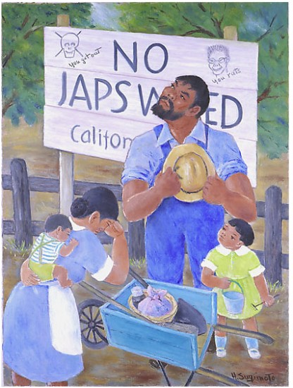 "Henry Sugimoto, Untitled (""No Japs Wanted""), oil on canvas, gift of Madeleine Sugimoto and Naomi Tagawa"