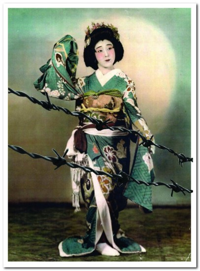 """This photo of Yukino Okubo Harada at the Amache/Granada camp in Colorado, with barbed wire added, is used as the logo for """"Hidden Legacy."""""""