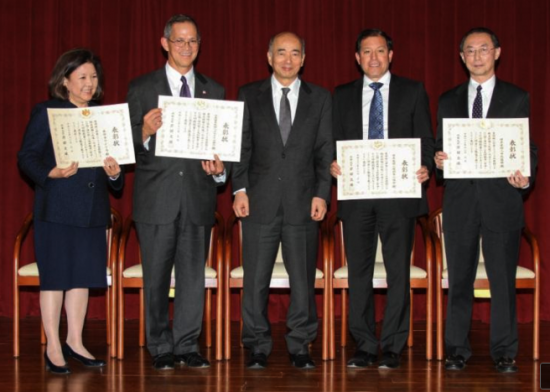 From left: Irene Hirano, Cal Shintani, Ambassador Kenichiro Sasae, Michael Cardarelli, David Lin. (Courtesy Embassy of Japan)