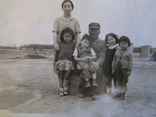 Yutaro Kawashiri with his family while in camp.