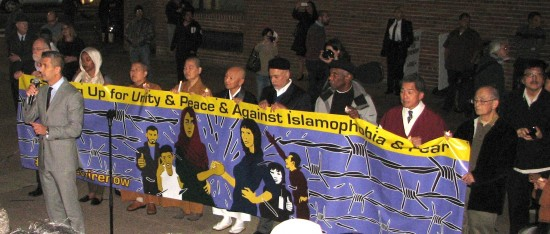 JANM President and CEO Greg Kimura and interfaith leaders spoke at an anti-Islamophobia rally in Little Tokyo last month. (J.K. YAMAMOTO/Rafu Shimpo)