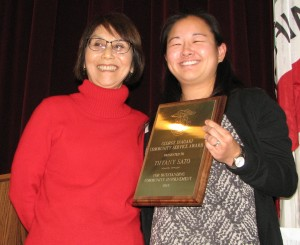 Sharon Kumagai of Venice Culver JACL presented the George Inagaki Community Service Award to Tiffany Sato.