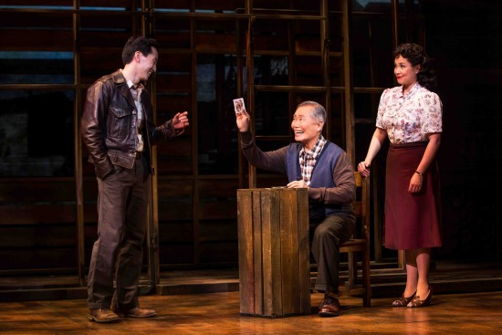 "Michael K. Lee, George Takei and Lea Salonga in a scene from ""Allegiance."" (Photo by Matthew Murphy)"