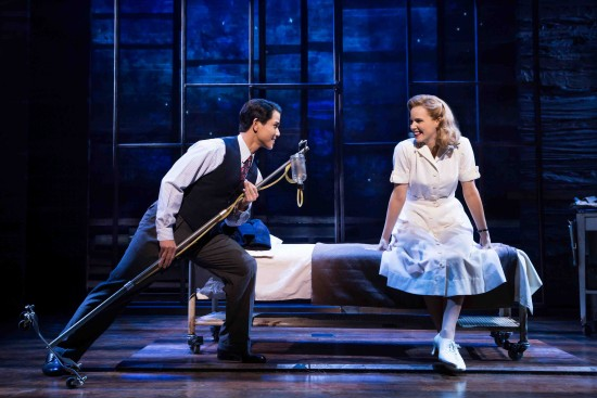 """Telly Leung and Katie Rose Clarke in a scene from """"Allegiance."""" (Photo by Matthew Murphy)"""