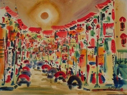 A watercolor of San Francisco Chinatown by Lewis Suzuki.