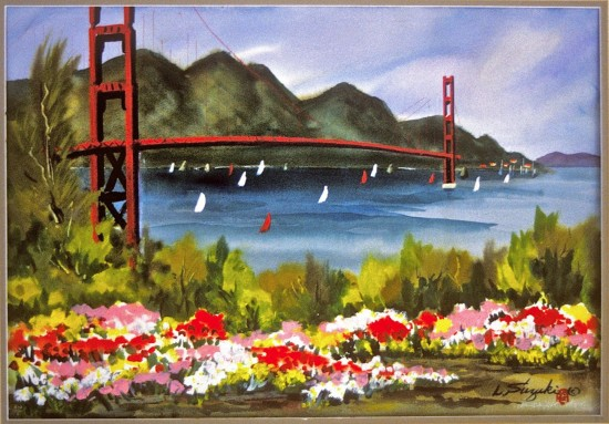A landscape by Lewis Suzuki featuring the Golden Gate Bridge.