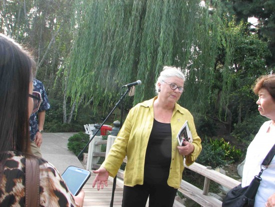 Jeanette Schelin of the Earl Burns Miller Japanese Garden gives a tour.