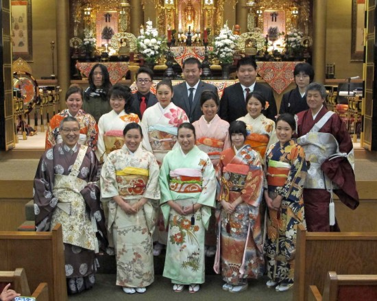 Seijin Shiki participants with Revs. Nobuo Miyaji (left) and John Iwohara.