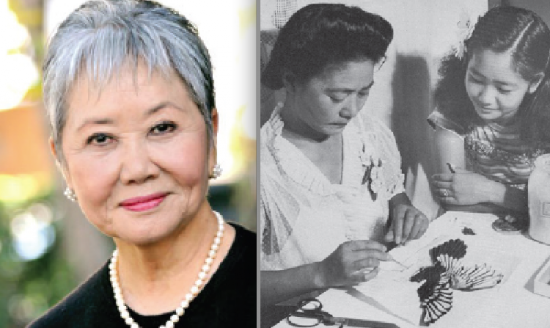 """Left: Actress Takayo Tsubouchi Fischer. (Photo by Alan Ariano) Right: As a child, Fischer watches as her mother practices the art of tsumami at the Rohwer camp in Arkansas. (Paul Faris, from """"Beauty Beyond Barbed Wire"""" by Allen Eaton)"""