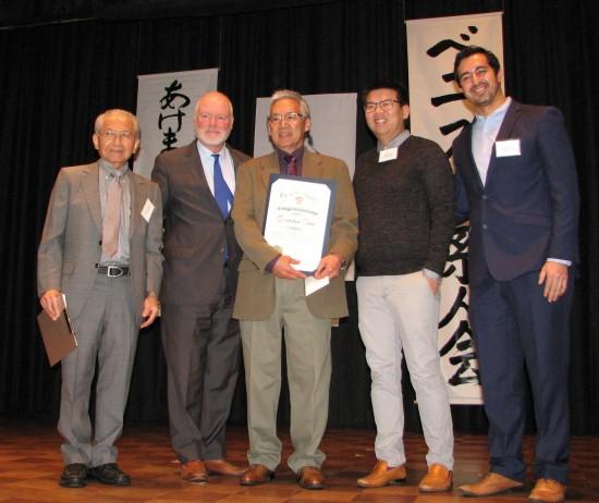 From left: VJCC Vice President Jim Shibata, Daniel Tamm (for Mayor Eric Garcetti), honoree Gordon Tani,Samuel Liu (for Sen. Ben Allen), Jesus David Orozco (for City Councilmember Mike Bonin).