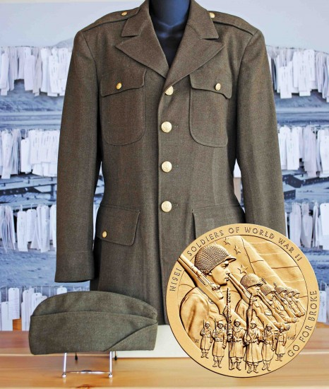 Congressional Gold Medal and uniform from Robert Yamamoto, who fought with the 442nd RCT.
