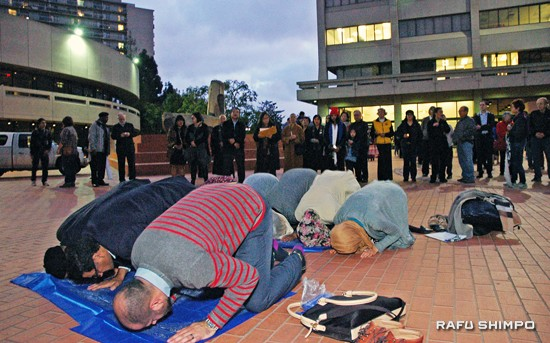 A candlelight vigil against violence and Islamophobia was held in the Japanese American Cultural and Community Center's courtyard.