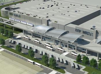 車両乗降場のほか駐車場、自動チェックイン発券機などが完備されたインターモーダル輸送施設の完成予想図