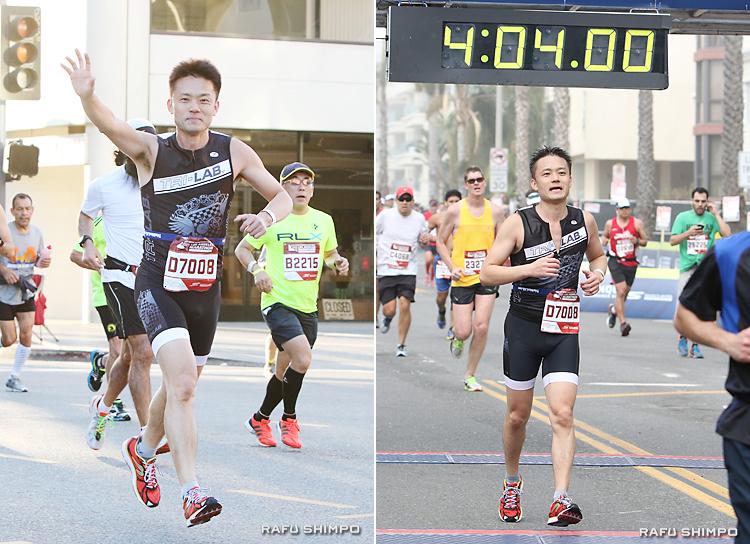 沿道からの大きな声援に手を振りながら小東京を駆け抜ける森辰雄さん(写真左)は、右太もものけいれんに見舞われながらも4時間2分33秒でゴール(同右)