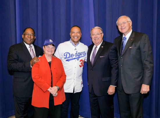 From left: Supevisors Mark Ridley-Thomas and Sheila Kuehl; Dave Roberts; Supervisors Don Knabe and Michael Antonovich.