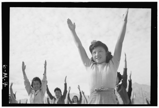 "Ansel Adams, ""Calisthenics,"" Manzanar Relocation Center, 1943. Courtesy of Library of Congress. (From ""Two Views"")"
