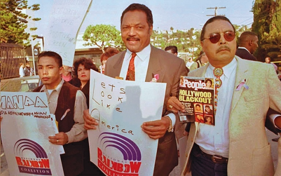 Front, from left: Ben Bulatao, Rita Hollingsworth (obscured), Jesse Jackson, Sonny Skyhawk.
