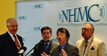 From left: Alex Nogales of NHMC, Daniel Mayeda of APAMC, Guy Aoki of MANAA, Sonny Skyhawk of AIFT.