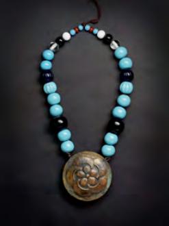 Copper and glass necklace (Shitoki) Edo/Meiji period c1860-1880.
