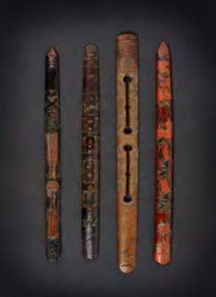 "Group of wooden ritual prayer sticks (ikupasuy). Late Edo/Meiji Period. 12 1/2"" x 1 1/8 """