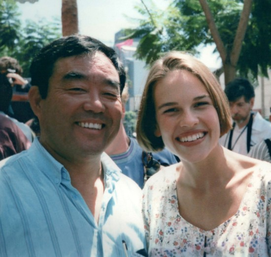 "Fumio Demura with Hillary Swank, star of ""The Next Karate Kid."""