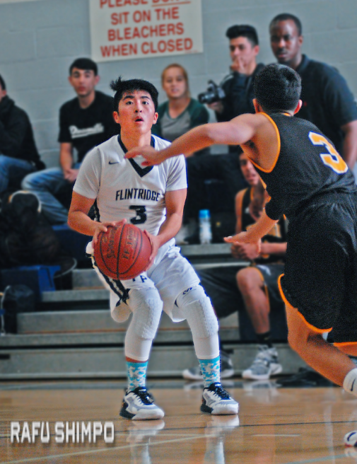 Kendall Kikkawa polls up for a three-point shot during Tuesday's 75-48 victory for Flintridge Prep over visiting Firebaugh. Kikkawa finished with six points for Prep, who head into next week's opening round of the CIF playoffs playing solid basketball. (MIKEY HIRANO CULROSS/Rafu Shimpo)