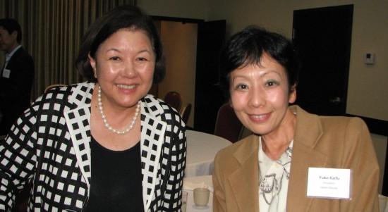 USJC President Irene Hirano Inouye and JBA Executive Vice President Yuko Kaifu. (J.K. YAMAMOTO/Rafu Shimpo)