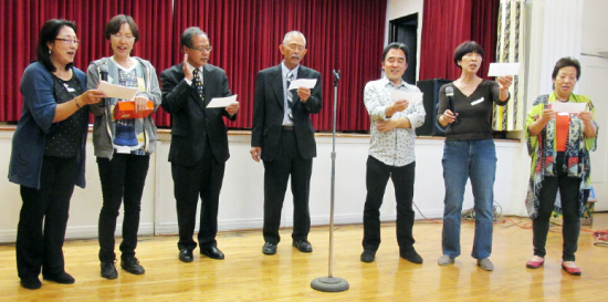 Hollywood Japanese Cultural Institute members sing a Japanese New Year's song on Feb 13.