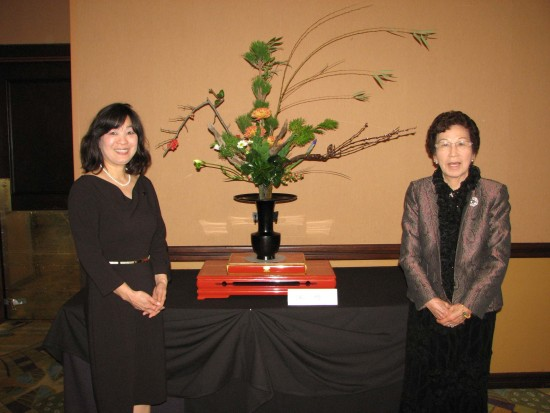 Ikenobo ikebana instructors Jusui Ogawa and Mayumi Dennis created a flower arrangement for the event.