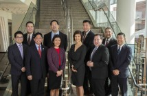 The 2016 Japanese American Leadership Delegation at the Japanese American National Museum. Front row, from left: Darren Nakata, Monte Del Mar (Noda) Mesa, Kiyo Matsumoto, Tasha Yorozu, Eric Nakajima, Stan Masamitsu. Back row, from left: Mark Yokoyama, Bruce Harrell, Eric Hiraga, Bruce Hollywood. (Courtesy U.S.-Japan Council)