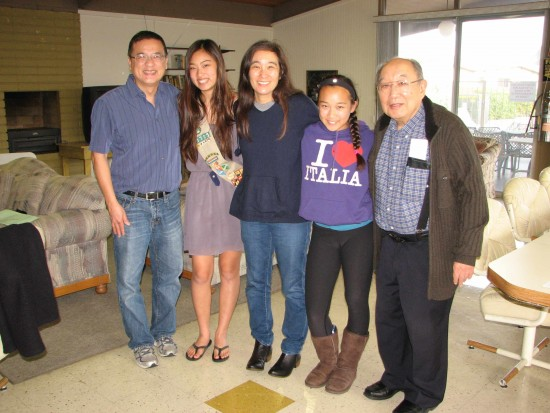 Kaitlyn Tang (second from left) with her parents Ben and Judy, sister Nicole, and grandfather Kanji Sahara.