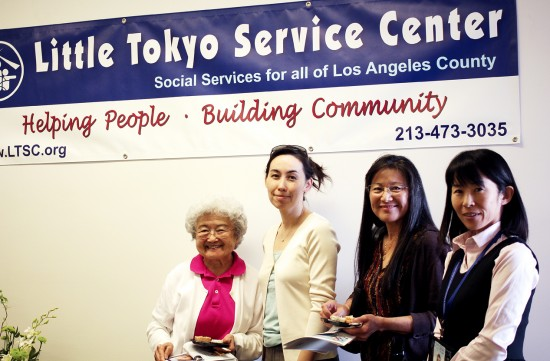 From left to right: Emiko Takasugawa, Director of Senior Services Amy Philips, Nancy Yamanishi, and Social Service Staff Akiko Takeda.