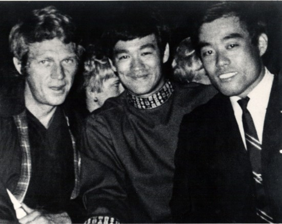 Fumio Demura with screen legends Steve McQueen and Bruce Lee.