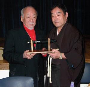 """Fumio Demura with Pat Morita, who played Miyagi in four """"Karate Kid"""" films."""