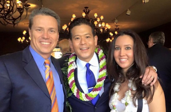 Rob Fukuzaki with his wife Sharil and his ABC7 colleague Curt Sandoval.