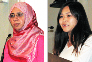 Left: Zahra Billoo spoke for the Council on American-Islamic Relations. Mei Suzuki, a student at UCSD, was the youth speaker.