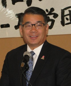 """Terry Hara of the Nisei Week Foundation said a few words about the late John """"JT"""" Tamaki."""