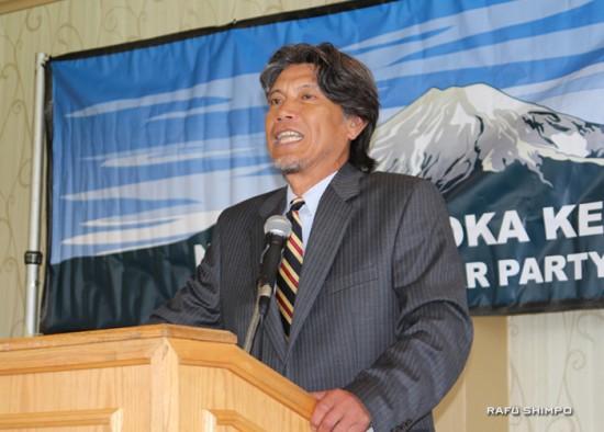 今年の「2つの目標」について熱くスピーチする2年目会長、蒲原孝郎さん