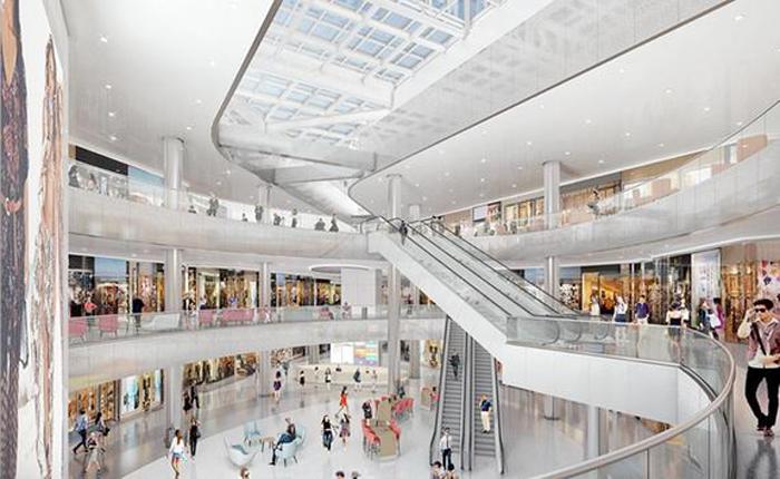 ビバリーセンターの完成予想図。天井をガラス張りにし自然光がふんだんに差し込むように設計された(トーブマン・センターズ社提供)