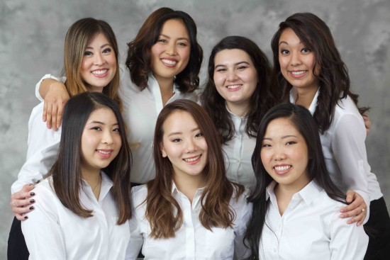 Front row, from left: Breana Mayumi Inoshita, Kona Melissa Kawai, Nicole Kiyomi Harada. Back row, from left: Samantha Beth Tsukiji, Marisa Mari Sum, Jan Mitsuko Cash, Kyla Kajioka.