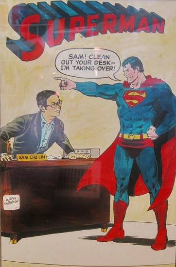 The reporter drawn by classic Superman artist Murphy Anderson as a gift. (Courtesy Mark Chu Lin)